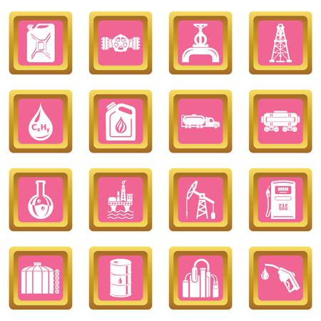 Oil industry icons set vector pink square isolated on white background.