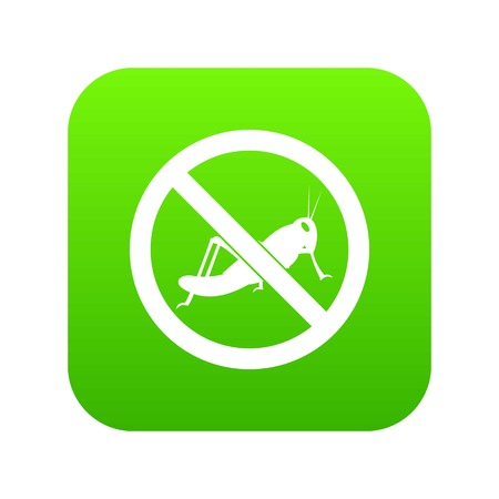 No locust sign icon digital green for any design isolated on white vector illustration. Illustration
