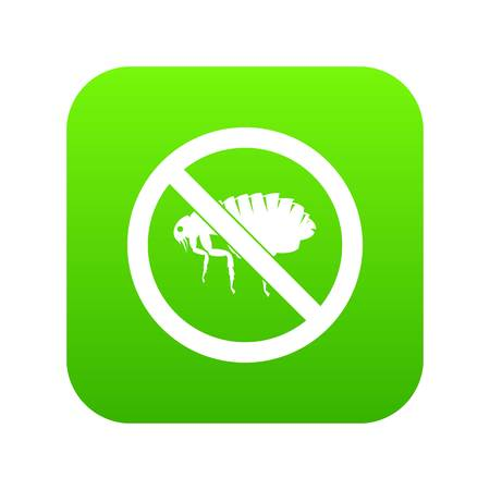 No flea sign icon digital green for any design isolated on white vector illustration