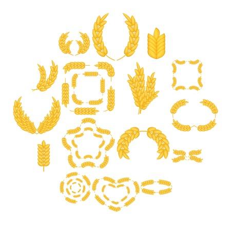 Ear corn icons set. Cartoon illustration of 16 ear corn vector icons for web.