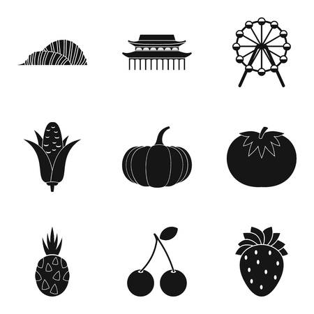 World country icons set. Simple set of 9 world country vector icons for web isolated on white background