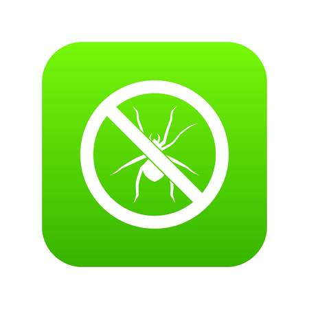 No spider sign icon digital green for any design isolated on white vector illustration Illustration