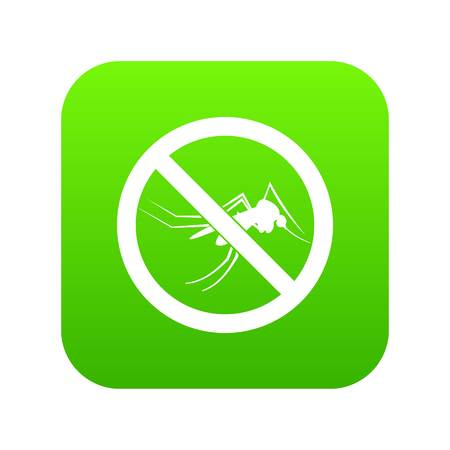 No mosquito sign icon digital green for any design isolated on white vector illustration