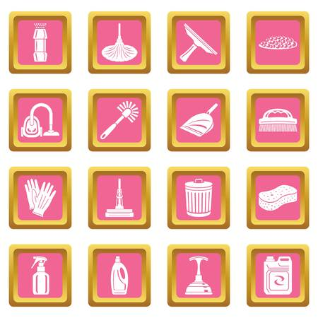 Cleaning icons set vector pink square isolated on white background