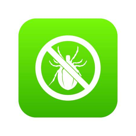 No bug sign icon digital green for any design isolated on white vector illustration