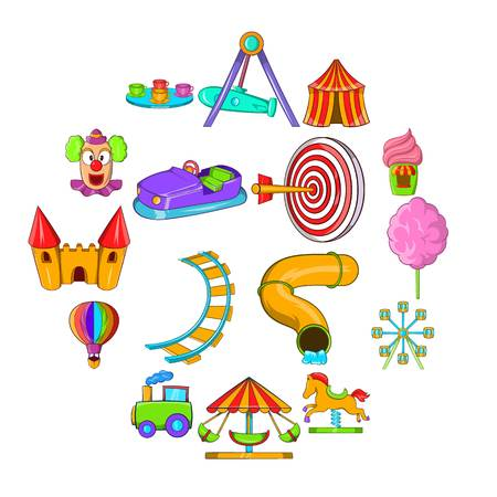 Amusement Park icons set in cartoon style isolated on white background