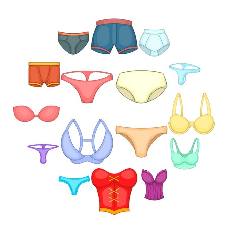 Underwear icons set. Cartoon illustration of 16 underwear vector icons for web