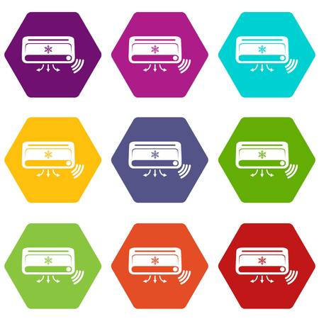 Air conditioning icons 9 set coloful isolated on white for web Illustration