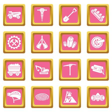 Coal mine icons set vector pink square isolated on white background