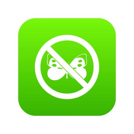 No butterfly sign icon digital green for any design isolated on white vector illustration