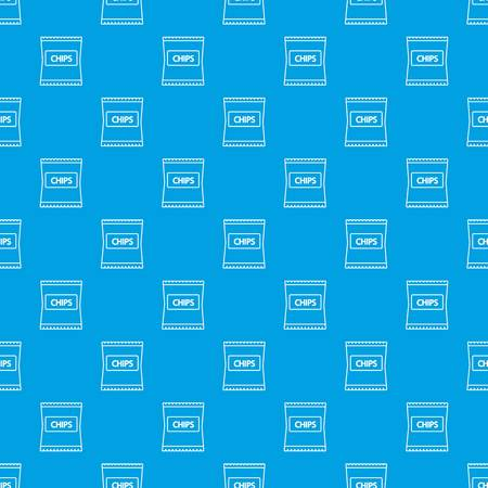 Chips pattern vector seamless blue repeat for any use