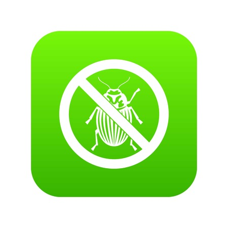 No potato beetle sign icon digital green for any design isolated on white vector illustration