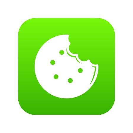 Bite biscuits icon green vector isolated on white background