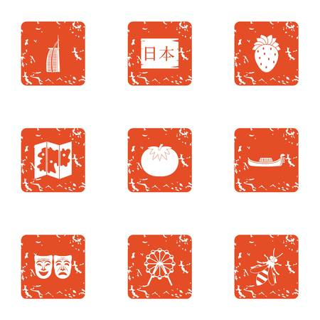 Japanese world icons set. Grunge set of 9 japanese world vector icons for web isolated on white background Illustration