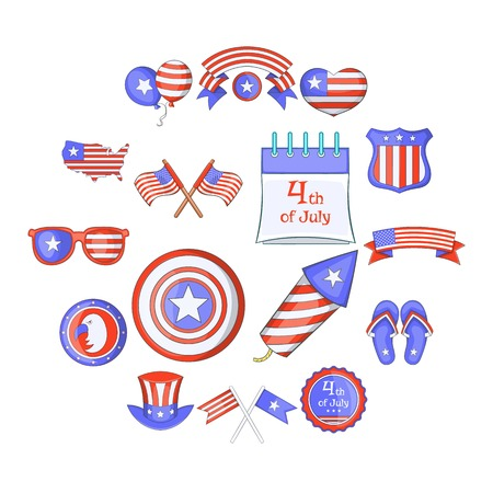 Independence day icons set. Cartoon illustration of 16 independence day vector icons for web