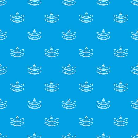 Grilled sausages pattern vector seamless blue repeat for any use