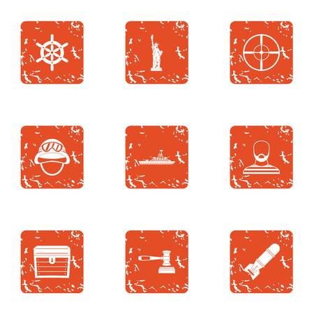 Democracy icons set. Grunge set of 9 democracy vector icons for web isolated on white background Иллюстрация