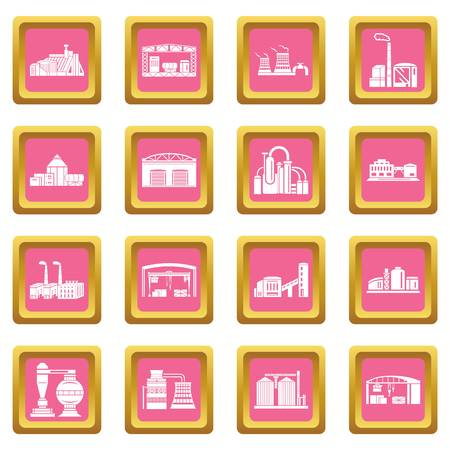 Factory icons set vector pink square isolated on white background Banque d'images - 100910398