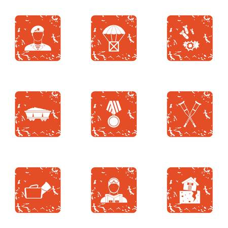 Feud icons set with man, parachute, missile and medal. Grunge set of 9 feud vector icons for web isolated on white background.