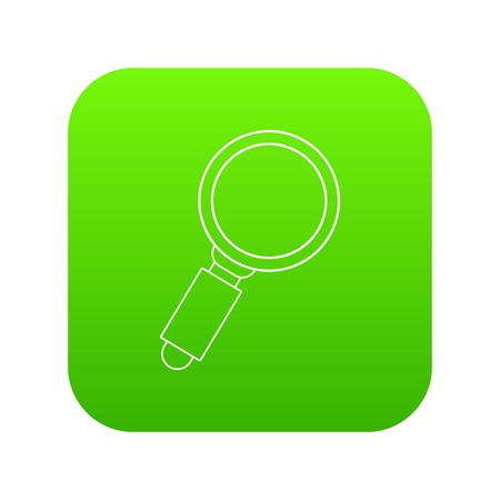 Loupe icon green vector isolated on white background.