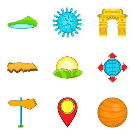 World politic icons set with island, map pointer, planet and globe with four arrows. Cartoon set of 9 world politic vector icons for web isolated on white background. Illustration