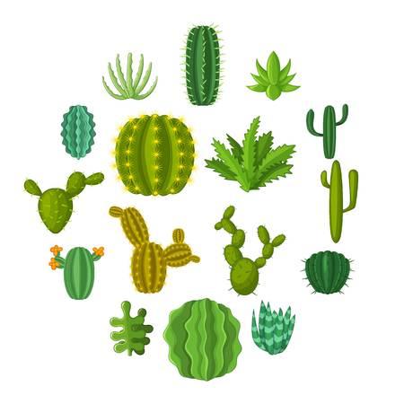 Green cactuses icons set. Cartoon illustration of 16 green cactuses vector icons for web Illustration