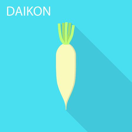 Daikon icon. Flat illustration of daikon vector icon for web design
