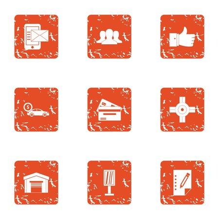 Car money icons set. Grunge set of 9 car money vector icons for web isolated on white background Illustration