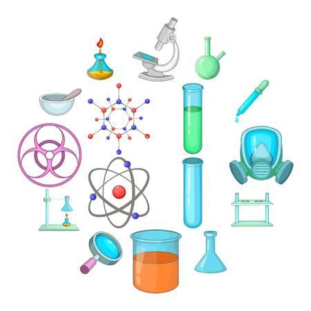 Chemical lab icons set. Cartoon illustration of 16 chemical lab vector icons for web
