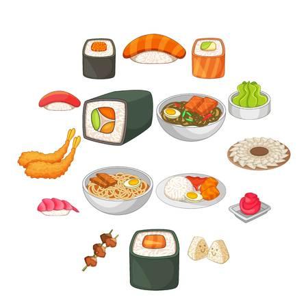 Japanese food icons set. Cartoon illustration of 16 Japanese food vector icons for web. Illustration