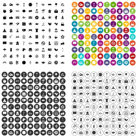100 yoga studio icons set vector in 4 variant for any web design isolated on white.
