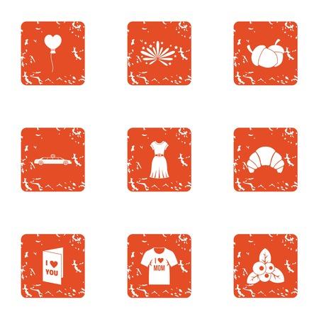 Lust icons set. Grunge set of 9 lust vector icons for web isolated on white background Illustration