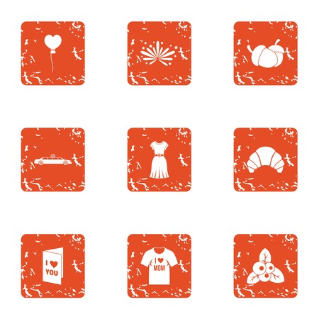 Lust icons set. Grunge set of 9 lust vector icons for web isolated on white background Illustration