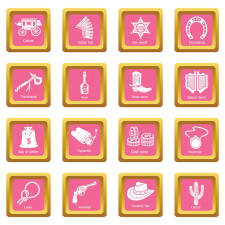 Wild west icons set vector pink square isolated on white background