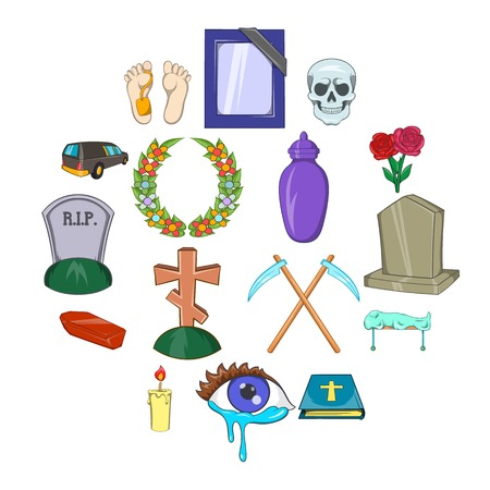 Funeral Icons set in cartoon style isolated on white background