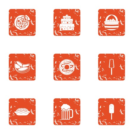 Food selection icons set. Grunge set of 9 food selection vector icons for web isolated on white background