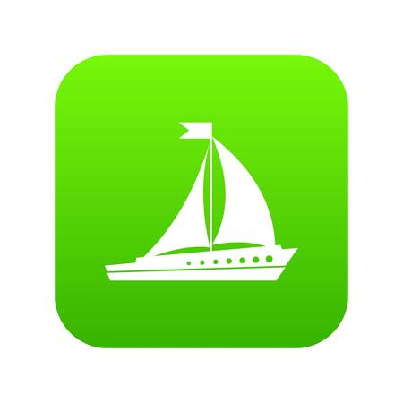 Sailing ship icon digital green for any design isolated on white vector illustration