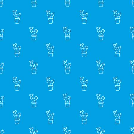 Big cactus pattern vector seamless blue repeat for any use