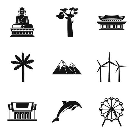 World route icons set. Simple set of 9 world route vector icons for web isolated on white background Vectores