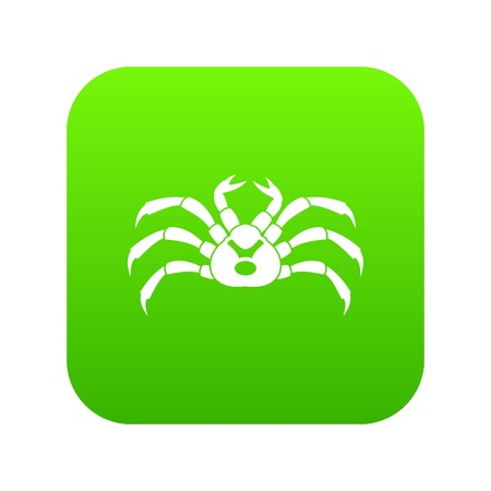 Fresh live crab icon digital green for any design isolated on white vector illustration Illustration