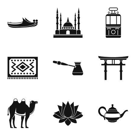 Way of travel icons set. Simple set of 9 way of travel vector icons for web isolated on white background Illusztráció