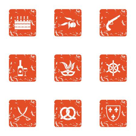 Medieval party icons set. Grunge set of 9 medieval party vector icons for web isolated on white background