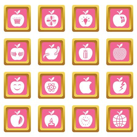 Apple   icons set vector pink square isolated on white background