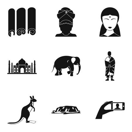 Religious journey icons set. Simple set of 9 religious journey vector icons for web isolated on white background