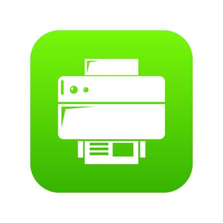 Printer icon green vector isolated on white background Illustration