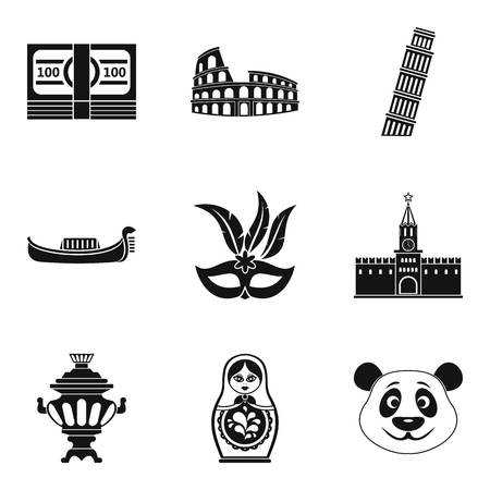 Global way icons set. Simple set of 9 global way vector icons for web isolated on white background Vectores