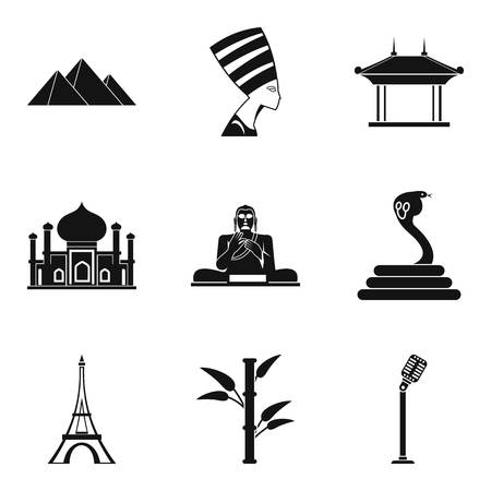 World journey icons set. Simple set of 9 world journey vector icons for web isolated on white background