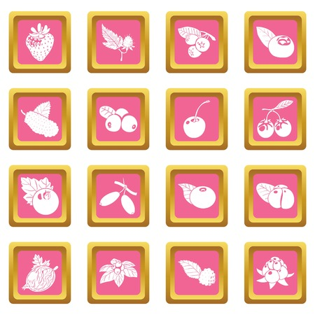 Berries icons set vector pink square isolated on white background