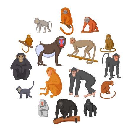 Different monkeys icons set. Cartoon illustration of 16 different monkeys vector icons for web