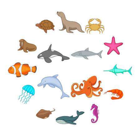 Ocean inhabitants icons set. Cartoon illustration of 16 ocean inhabitants vector icons for web